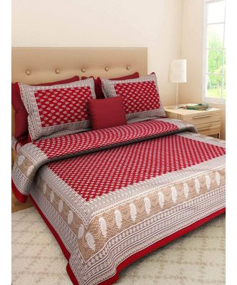 Indian Jaipuri Cotton Bedding Bedspread Bedsheet with Pillow Cover