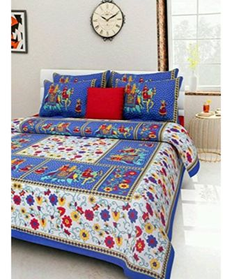 100% Cotton Sanganeri Jaipur Cotton Bedsheet Bedcover Bedspread with Pillow Cover