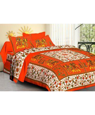 Indian Pure 100% Cotton Sanganeri Jaipuri Bedsheet Bedspread Bedding Throw