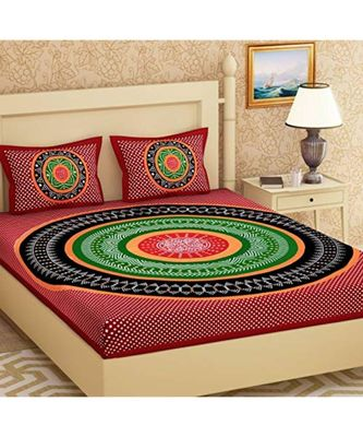 Sanganeri Screen Print Cotton Bedding Bedsheet with 2 Pillow Cover