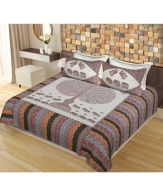 Sanganeri Cotton Bedsheet Bedding Bedspread with 2 Pillow Cover