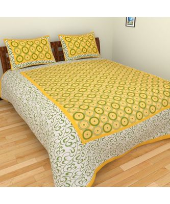 Indian Cotton Print Bedding Bedsheet with 2 Pillow Cover Sanganeri Bedspread