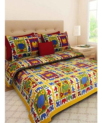 Cotton Hand Screen Printed Bedding Bedsheet with 2 Pillow Cover Boho Bohemian