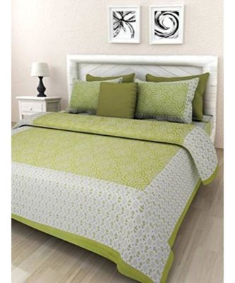 Indina Screen Print Cotton Bedding Bedsheet with 2 Pillow Cover