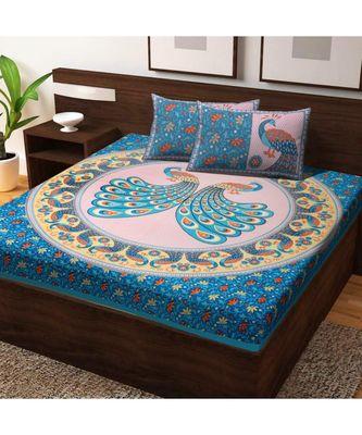 Hand Print 100% Cotton Bedding Bedsheet with 2 Pillow Cover Sanganeri Jaipuri Bedcover