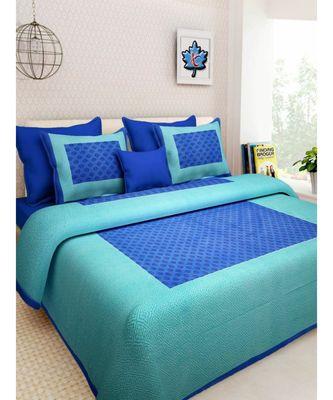 Indian Print Cotton Bedding Bedsheet With 2 Pillow Cover Sanganeri Print