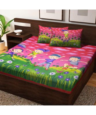 100% Cotton Hand Screen Printed Bedsheet with 2 Pillow Cover Handmade Bedding Bedspread