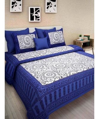 Indian Handmade Cotton Bedsheet Bedspread with 2 Pillow Cover