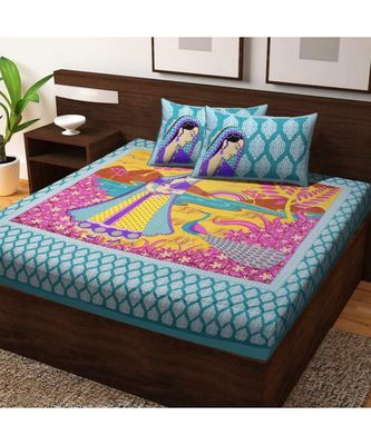 Sanganeri Print 100% Cotton Bedsheet Bedspread with Pillow Cover