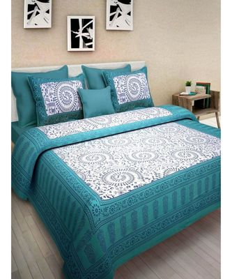 Jaipuri Cotton Print Cotton Bedding Bedspread Bedsheet with Pillow Cover