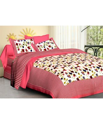 100% Cotton Bedding Bedsheet with 2 Pillow Cover Coverlet Sanganeri Print