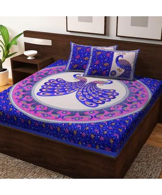 Jaipuri Print Cotton Bedsheet with 2 Pillow Cover Bedding bedspread