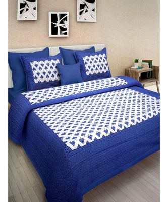 Hand Screen Printed Cotton Bedding Bedsheet with 2 Pillow Cover
