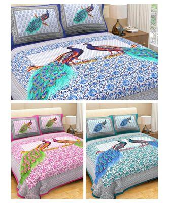 Cotton Indian Print Bedding Bedsheet with Pillow Cover Sanganeri Print