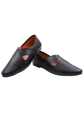 Treemoda Casual Ethnic Black Juttis Shoes For Men