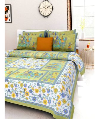 Cotton Bedsheet Handmade Screen Printed Double Bedsheet with Pillow Cover Sanganeri Print