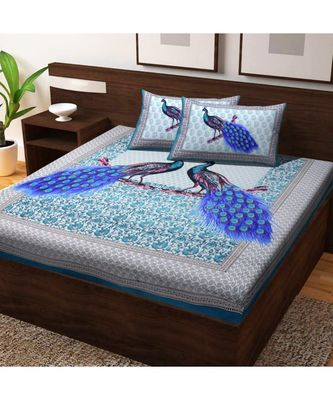 100% Cotton Double Bedsheet Bedapread Hand Printed Double bedsheet with Pillow Cover