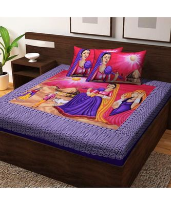 Indian Traditional Screen Printed Cotton Bedding Bedspread with Pillow Cover Sanganeri Jaipuri Print