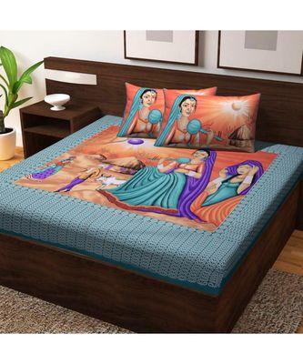 Handmade Cotton Bedding Bedsheet With Pillow Cover Indian Sanganeri Jaipuri Print