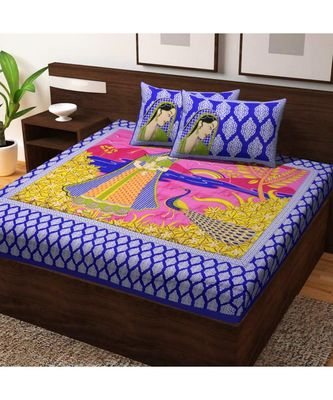 Indian Handmade Handscreen Printed Cotton Bedding Double Bedsheet with Pillow Cover