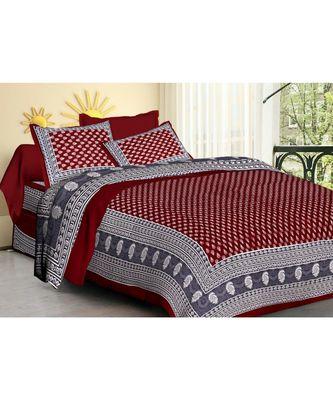 Cotton Indian Print Double Bedsheet with 2 pillow Cover indian Sanganeri Jaipuri Print