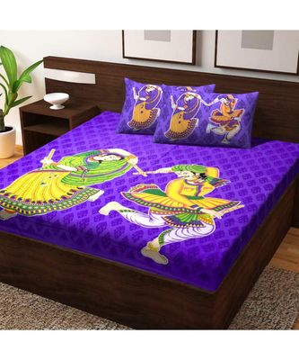 Cotton Bedsheet Indian Sanganeri Jaipuri Print with Pillow Cover Bedding Bedspread Bohemian