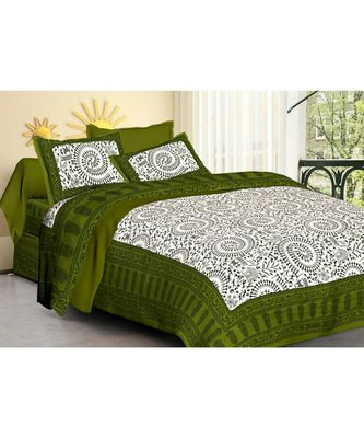 Indian Traditional Handmade Screen Printed Bedsheet Bedspread with pillow Cover Bohemian Coverlet