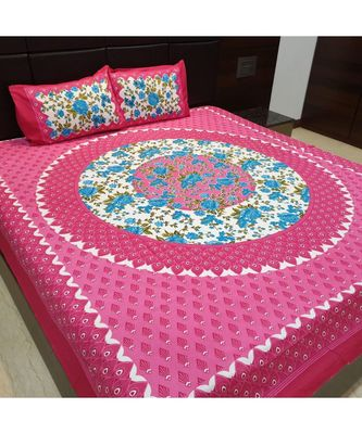 Sanganeri Hand Screen Printed Cotton Bedding Bedsheet with 2 Pillow Cover Boho Bohemian