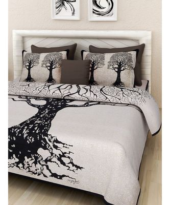 Cotton Hand Screen Printed Bedding Bedsheet with 2 Pillow Cover Boho Bohemian Bedspread