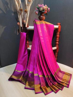Pink Plain cotton silk saree with blouse