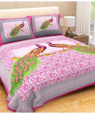 Indian Cotton Hand Screen Printed Bedding Bedsheet Sanganeri Print Boho Bohemian Bedspread