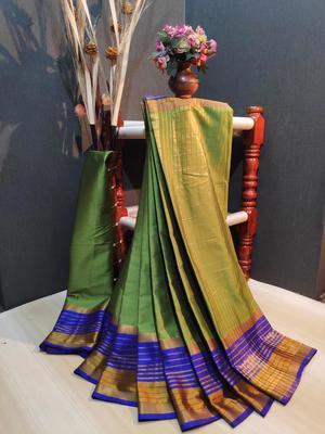 Olive Plain cotton silk saree with blouse