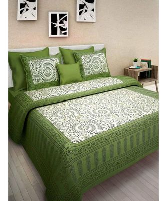Cotton Bedsheet Bedapread Hand Printed Double bedsheet with pillow Cover Bohemian Danganeri Print