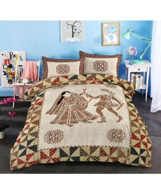 Indian Traditional Handmade Screen Printed Bedsheet Bedspread with 2 pillow Cover