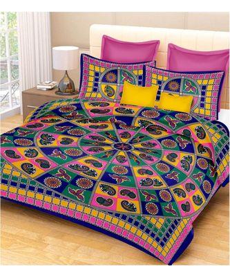 Indian Print Cotton Bedsheet Indian Sanganeri Jaipuri Print with Pillow Cover