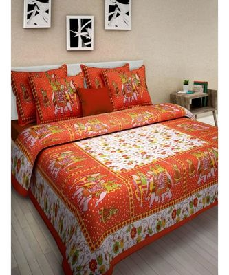 100% Cotton Printed Bedsheet with 2 Pillow Cover Bedspread Sangneri Jaipuri Print