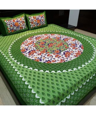 Indian Traditional Screen Printed Cotton Bedding Bedspread with Pillow Cover Sanganeri Jaipuri Print Bedsheet Bedspread