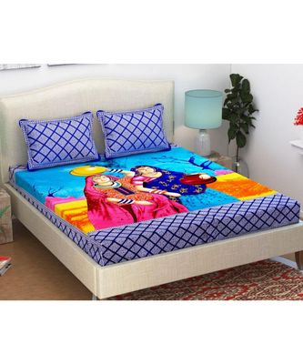 Hand Print 100% Cotton Bedding Bedsheet with 2 Pillow Cover Sanganeri Jaipuri Bedcover Bohemian