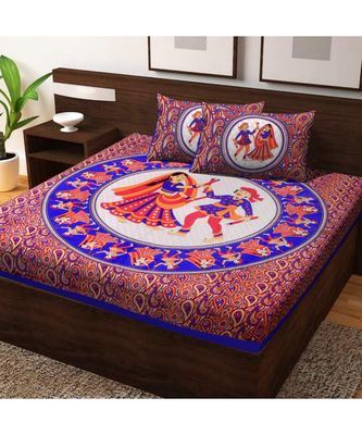 100% Cotton Bedding Bedspread Handmade Screen Floral Printed Bedsheet with Pillow Cover Sanganeri jaipuri Print Bohemian
