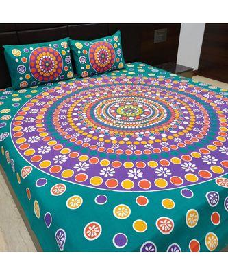 Hand Screen Print Cotton Double Bedsheet with 2 Pillow Cover decorative Bedsheet Boho Bohemain Bedsheet Bedspread