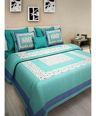 100% Cotton Indian Print Bedsheet with Pillow Cover Bohemian Bedspread Traditionla Decorative Bedsheet Bedspread