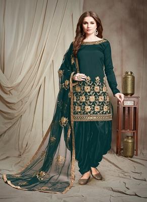 Dark-teal embroidered salwar kameez