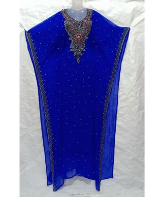 BLUE Embroidered georgette Islamic Arabic PartyWear Abaya