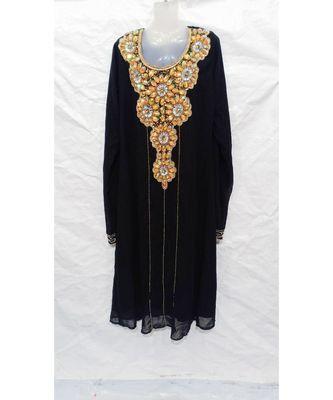 BLACK Embroidered georgette Islamic Arabic PartyWear Abaya