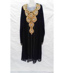 Black Embroidered Georgette Islamic Arabic Partywear Abaya