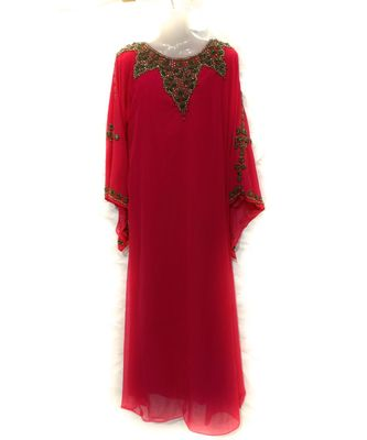 RED Embroidered georgette Islamic Arabic PartyWear Abaya