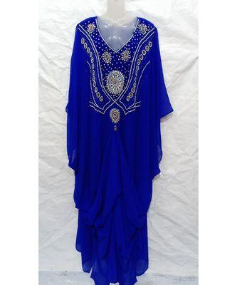 BLUE Embroidered georgette Islamic Arabic PartyWear Abaya