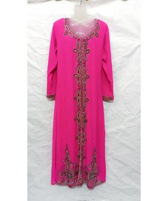 PINK Hand Embroidery Stitched KAFTAN