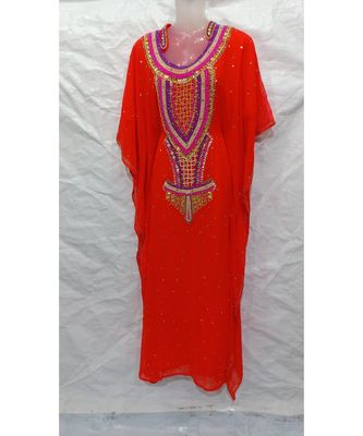 ORANGE Embroidered georgette Islamic Arabic PartyWear Abaya