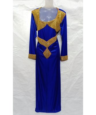 BLUE Embroidered LYCRA Islamic Arabic PartyWear GOWN